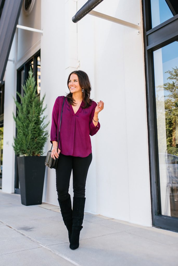 fall outfit | dark pink top | black jeans | Favorite Fashion Blog Lady in Violet