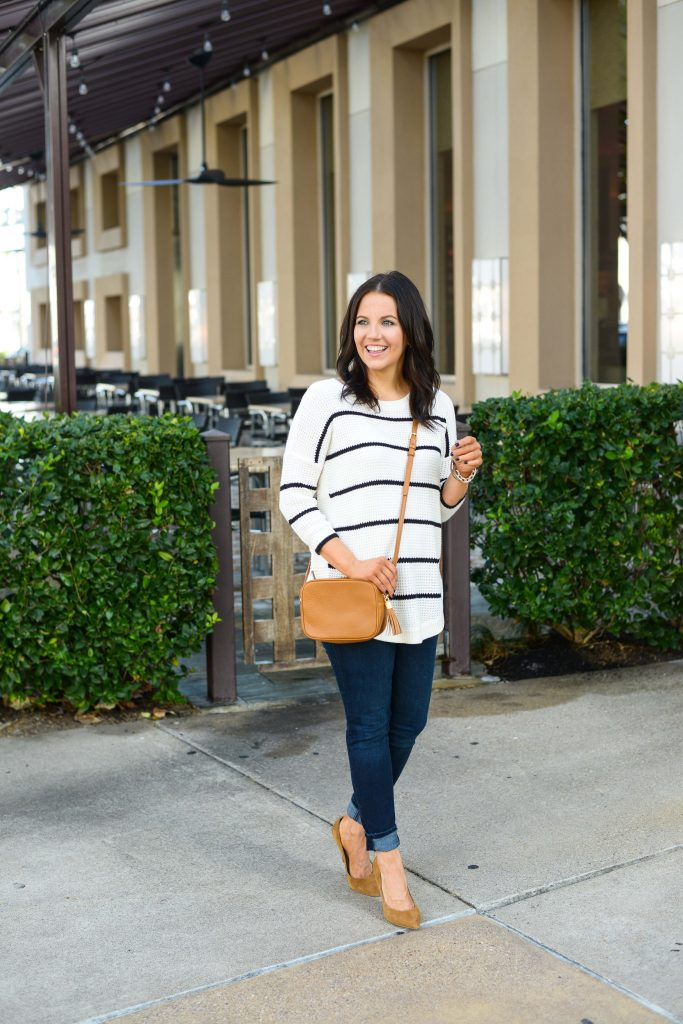 fall outfits | tan crossbody bag | high waisted skinny jeans | Southern Style Blog Lady in Violet