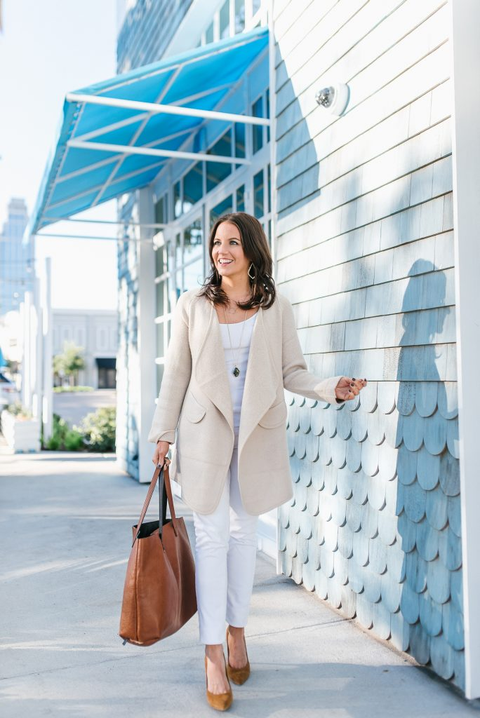 winter outfit | beige long cardigan | white skinny jeans | Texas Fashion Blog Lady in Violet