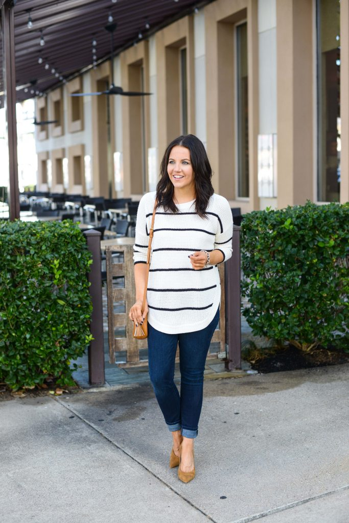 fall outfit | striped sweater | dark blue skinny jeans | Fashion and Lifestyle Blog Lady in Violet
