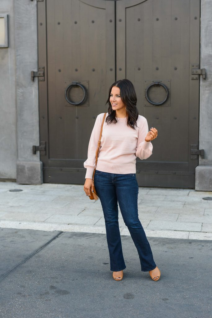 winter outfit | baby pink sweater | dark blue bootcut jeans | Affordable Fashion Blog Lady in Violet