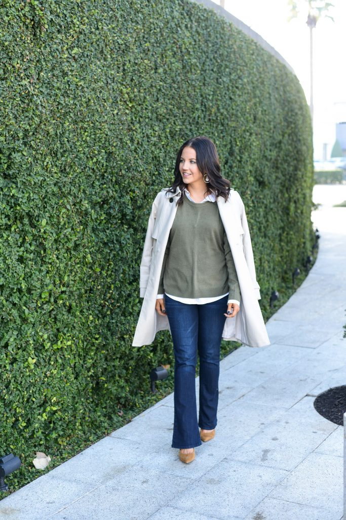 winter outfit | classic trench coat over green sweater | Affordable Fashion Blog Lady in Violet