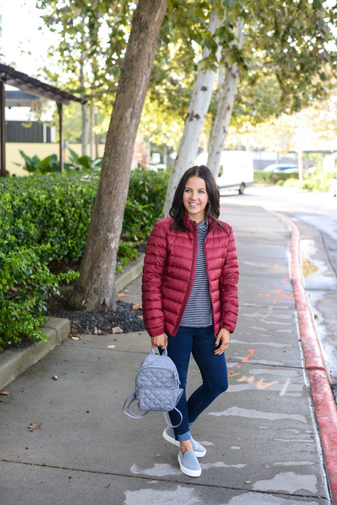 winter outfit | red puffer coat | striped turtleneck top | Affordable Fashion Blog Lady in Violet