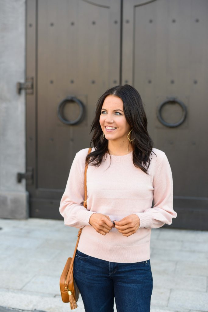 casual outfit | light pink cashmere sweater | Houston Fashion Blogger Lady in Violet
