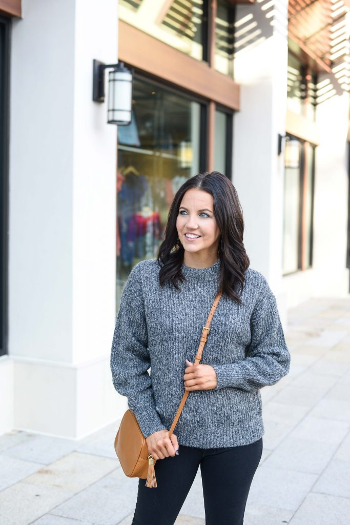 casual winter outfit | charcoal gray sweater | tan brown crossbody bag | Houston Fashion Blogger Lady in Violet