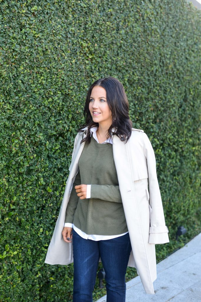 layered outfit | olive green sweater over a white button down blouse with trench coat | Texas Fashion blogger Lady in Violet