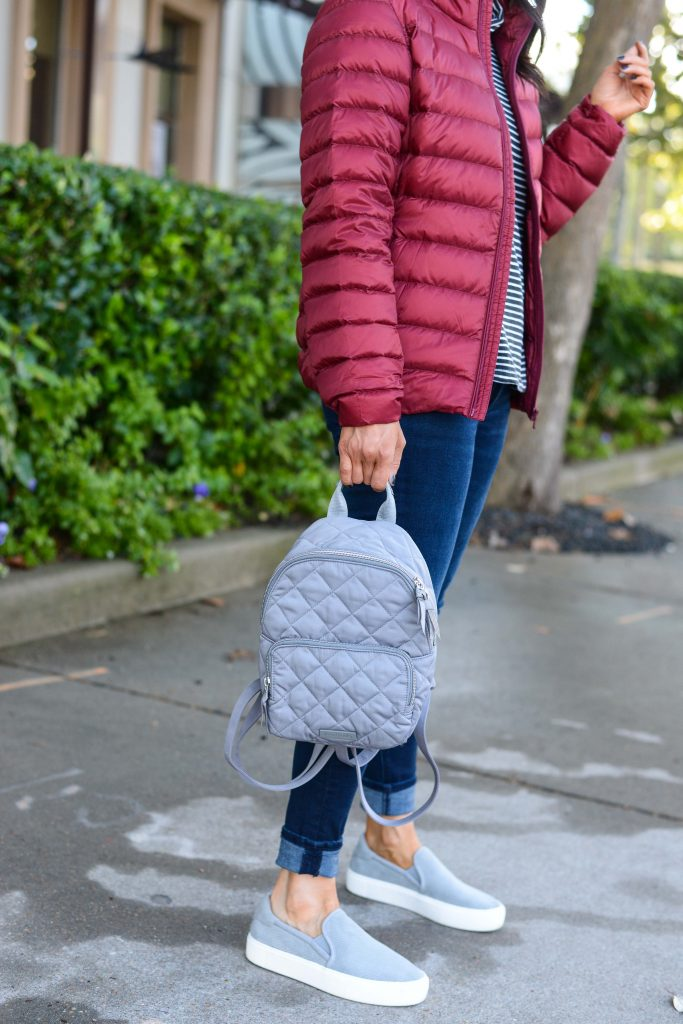 casual winter outfit | mini gray quilted backpack | slip on ugg sneakers | Petite Fashion Blog Lady in Violet