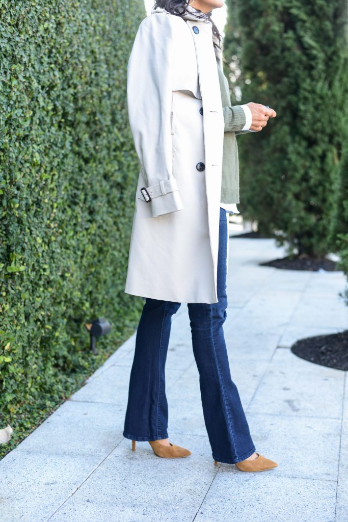 winter closet | staples trench coat | flared jeans suede heels | Petite Fashion Blog Lady in Violet
