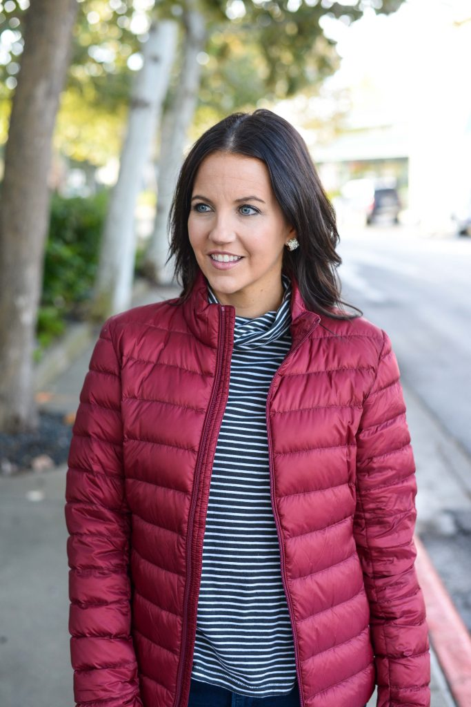 cold weather outfit | affordable red puffer coat | gold stud earrings | Everyday Fashion Blog Lady in Violet