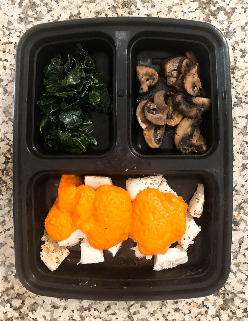 healthy lunch idea romesco chicken with sauteed kale and mushrooms | Houston Lifestyle Blog Lady in Violet