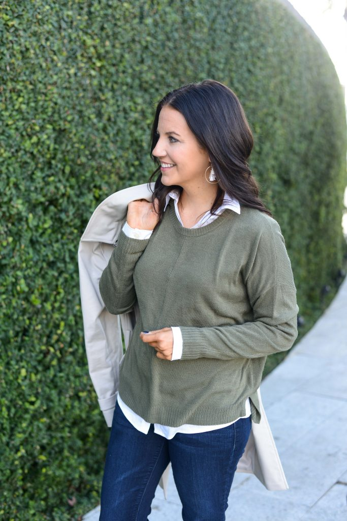 layered fall outfit | olive green sweater over white button down blouse | Everyday Fashion Blog Lady in Violet