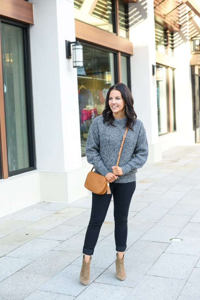 winter outfit | dark gray sweater | brown suede booties | Petite Fashion Blog Lady in Violet