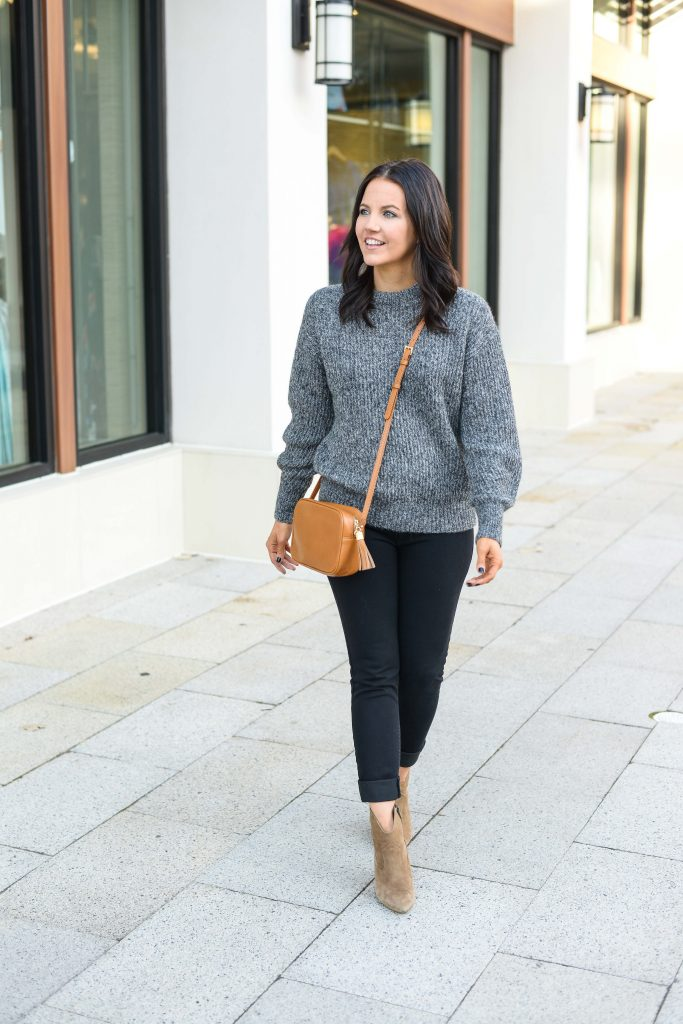 casual winter outfit | charcoal gray sweater | brown crossbody purse | Texas Fashion Blog Lady in Violet