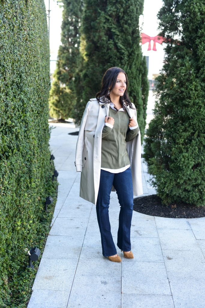 casual winter outfit | classic trench coat with bootcut jeans | Popular Fashion Blog Lady in Violet