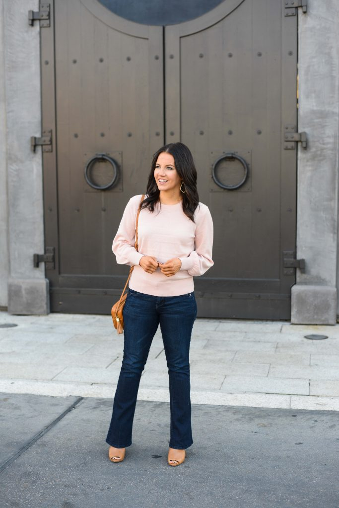 winter business casual outfit | baby pink cashmere sweater | dark wash flared jeans | Petite Fashion Blog Lady in Violet