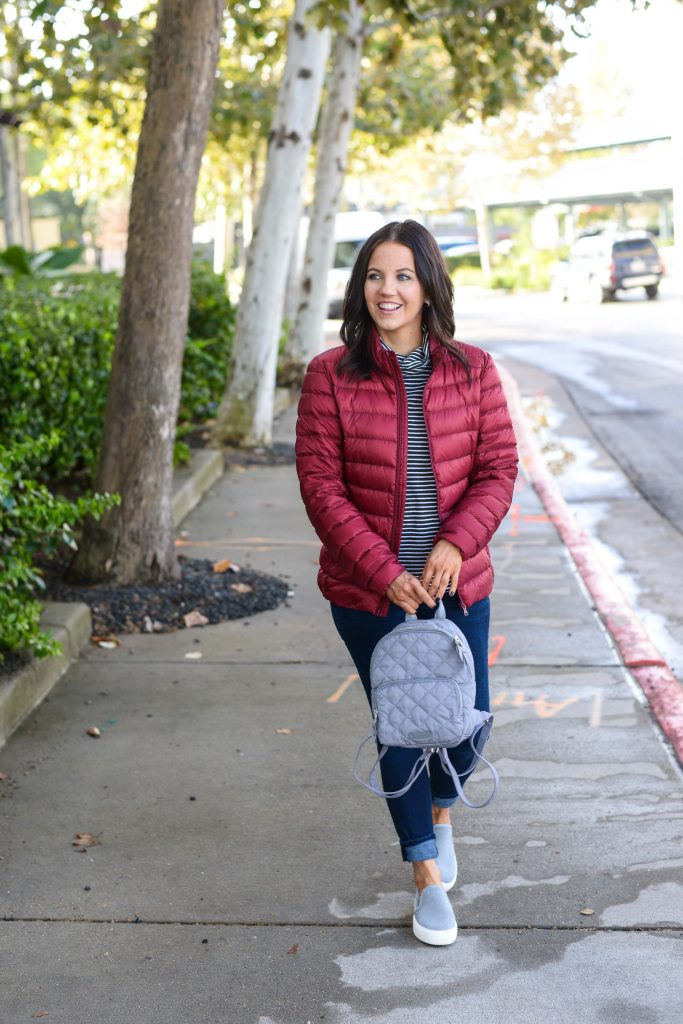 winter outfit | maroon puffy jacket | small gray backpack | Casual Fashion Blog Lady in Violet