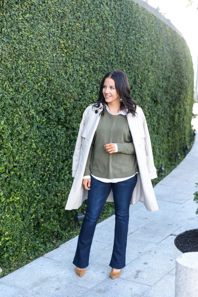 casual fall outfit | beige trench coat with olive green sweater | Casual Fashion Blog Lady in Violet