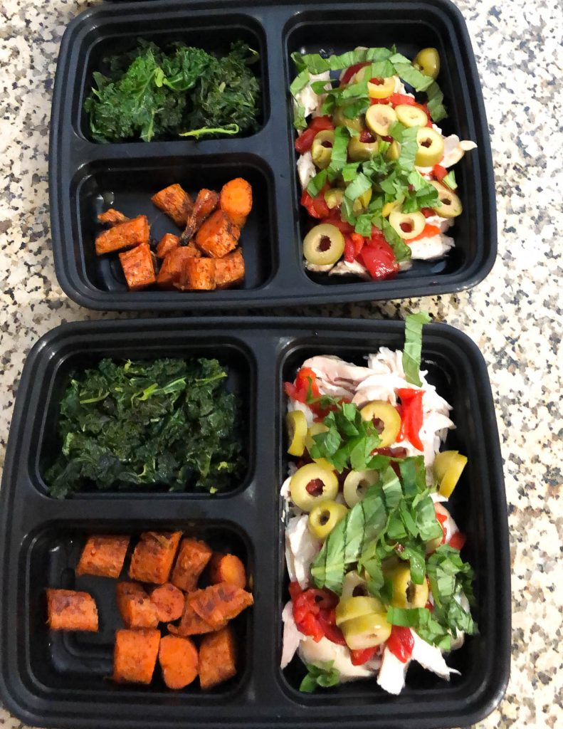 healthy meal prep lunch mediteranean chicken with roasted carrots | Texas Lifestyle Blog Lady in Violet