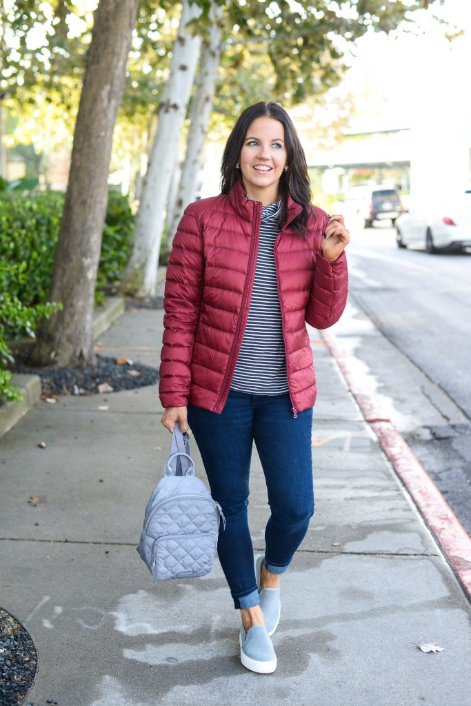 winter casual outfit | maroon down coat | gray slip on sneakers | Texas Fashion Blog Lady in Violet