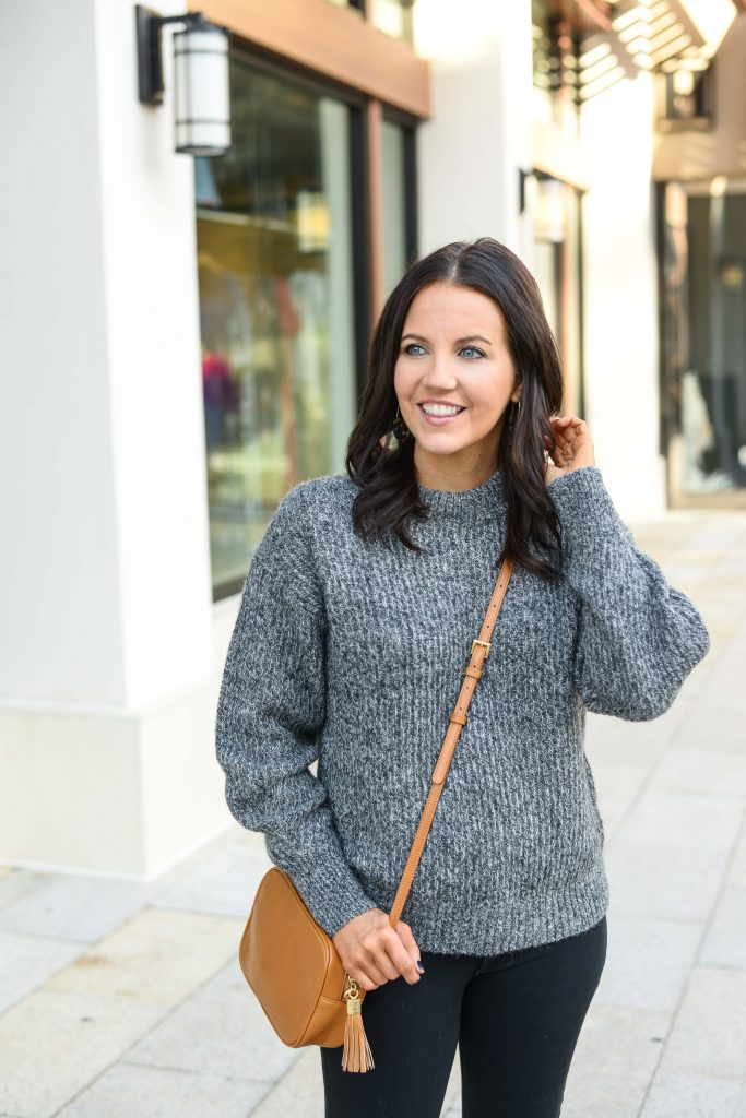 winter outfit idea | gray alpaca sweater | tan crossbody purse | Southern Style Blog Lady in Violet