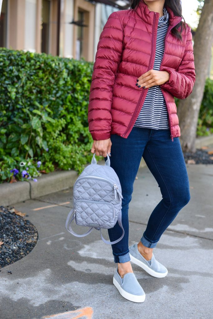 casual winter outfit | warm puffy coat | little gray backpack purse | Budget Friendly Fashion Blog Lady in Violet