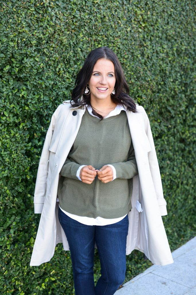 casual work outfit | olive green sweater | classic long coat | Budget Friendly Fashion Blog Lady in Violet