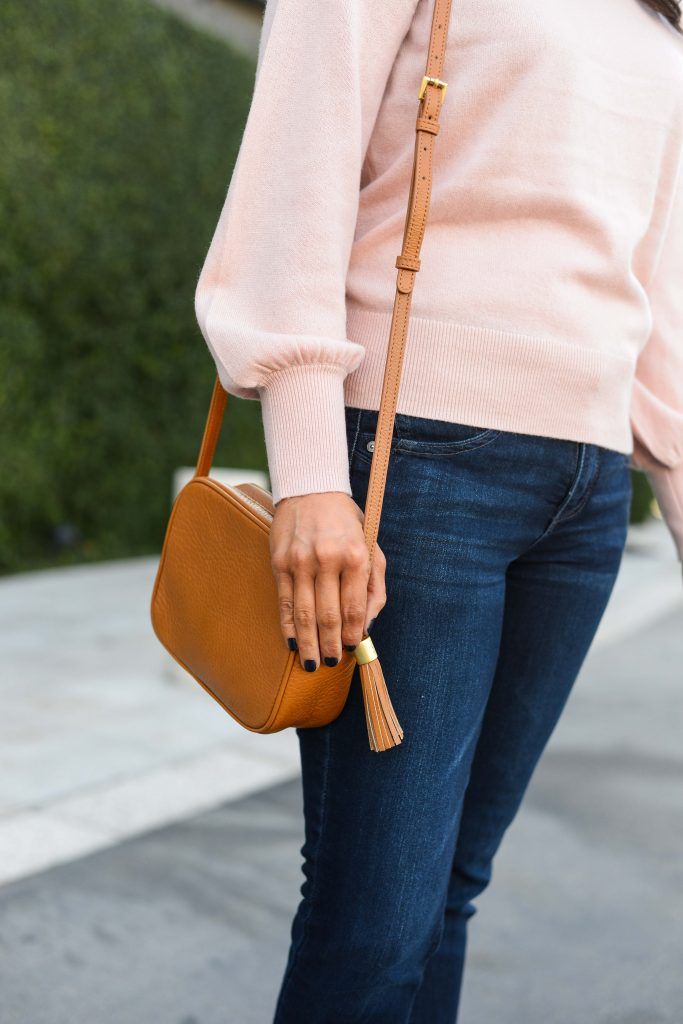 fall outfit | light pink blouson sleeve sweater | tan brown crossbody bag | Popular Fashion Blog Lady in Violet