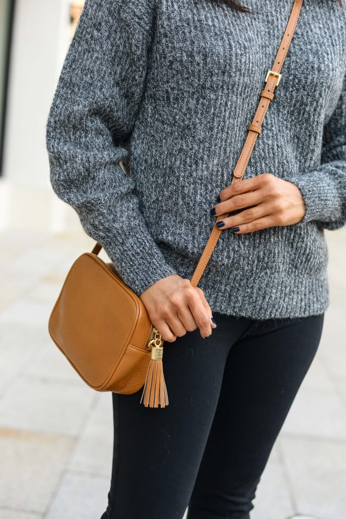 style tips on mixing brown and black | small leather crossbody bag | Popular Fashion Blog Lady in Violet