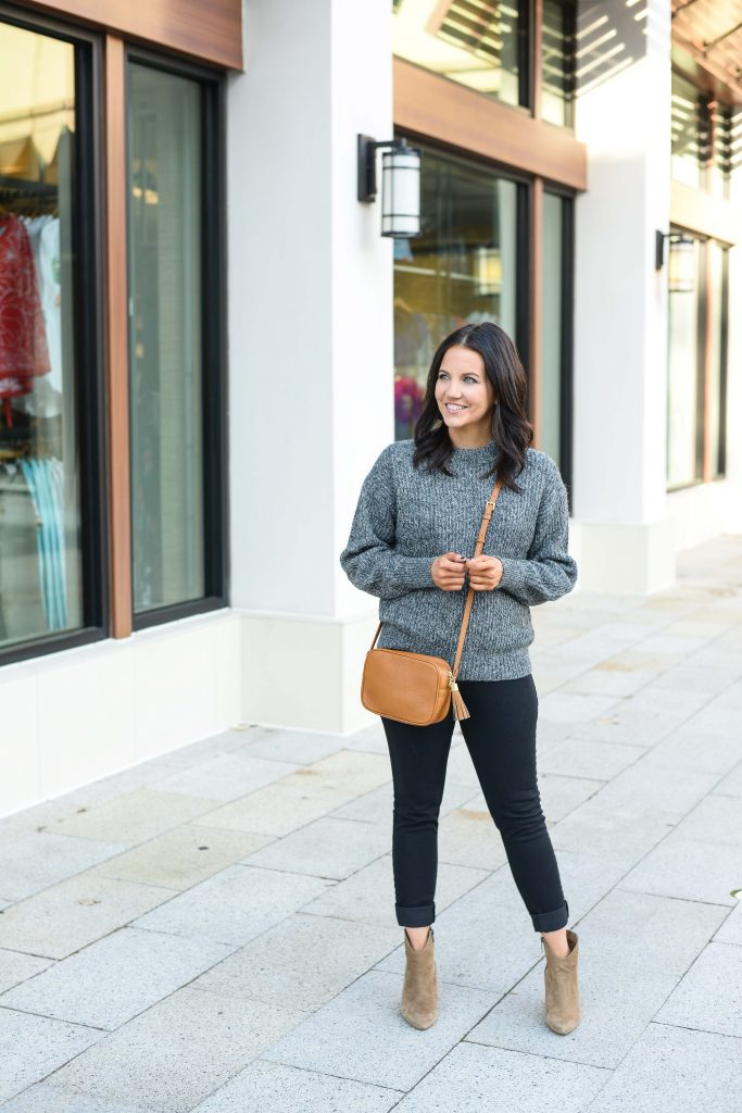 casual winter outfit | dark gray sweater | black skinny jeans | Budget Friendly Fashion Blog Lady in Violet