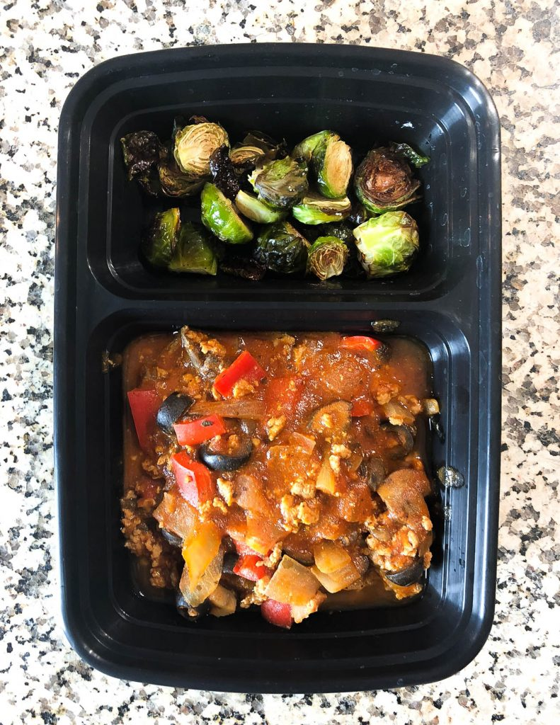 easy meal prep idea turkey and vegetable spaghetti sauce with brussel sprouts | healthy lifestyle blogger lady in violet