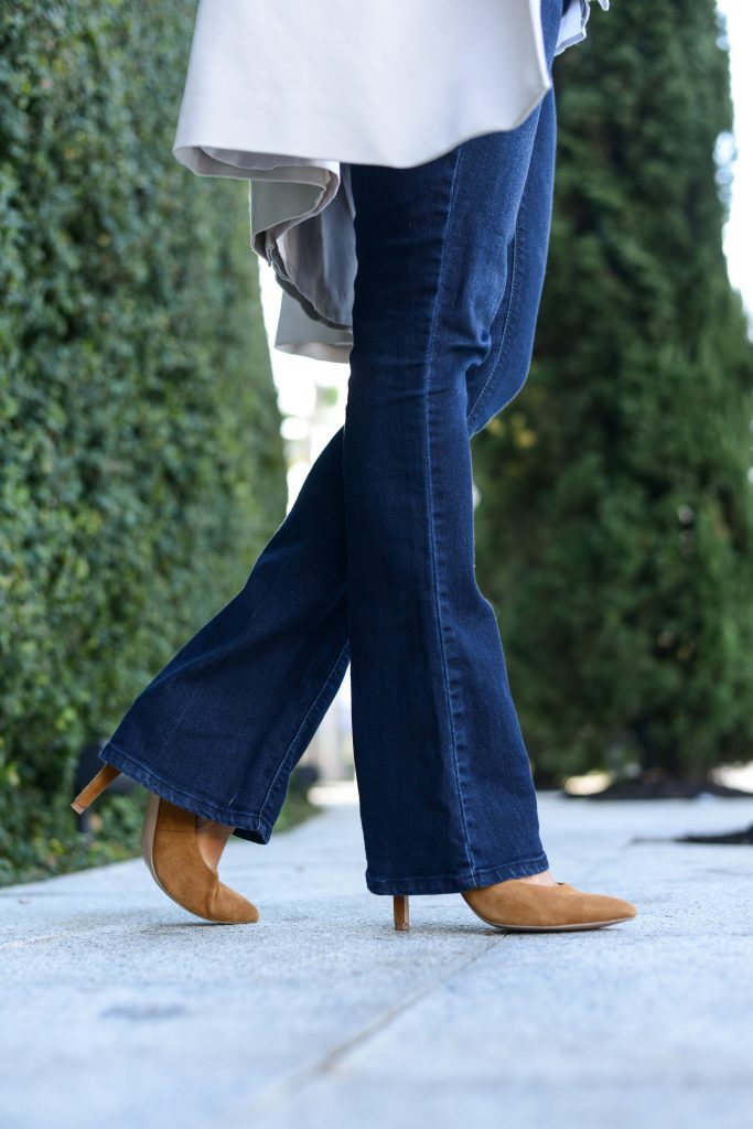 fall outfit | bootcut flared jeans with tan suede heels | Houston Fashion Blog Lady in Violet