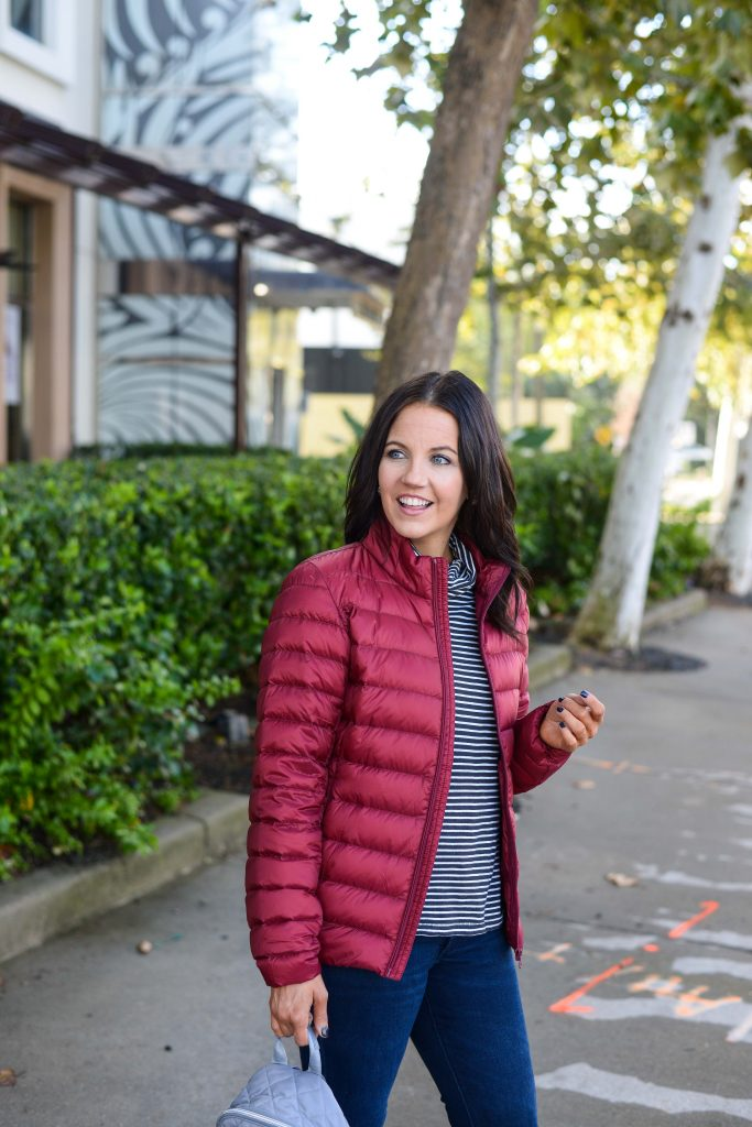 layered winter outfit | dark red coat | striped turtleneck top | Popular Fashion Blog Lady in Violet