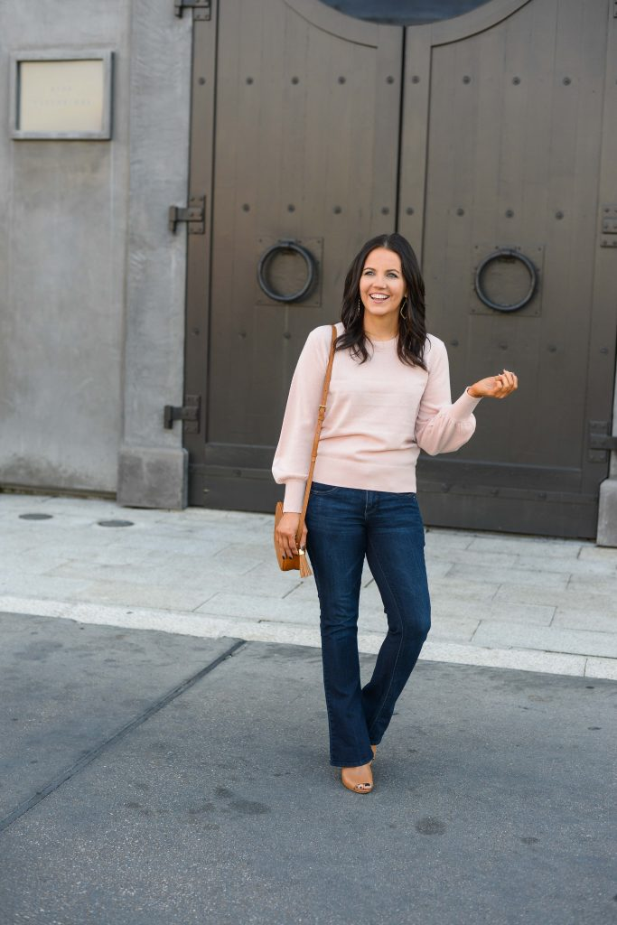 winter outfit ideas | baby pink sweater | dark wash flared jeans | Budget Friendly Fashion Blog Lady in Violet