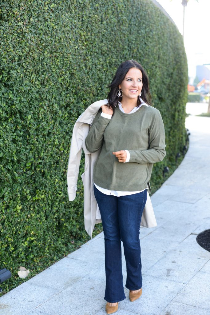 casual fall outfit | olive green sweater over white button up blouse | Personal Style Blog Lady in Violet