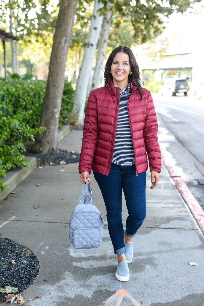 casual outfit | dark red jacket | blue skinny jeans | Personal Style Blog Lady in Violet