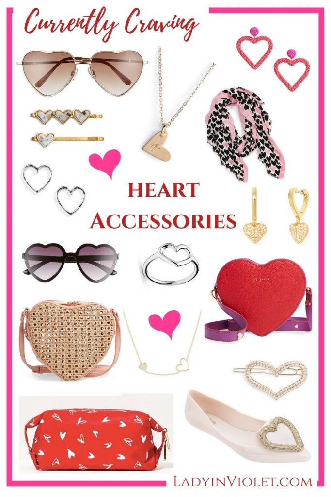 Valentines Day Gift Ideas | Heart Accessories Jewelry Purses Shoes | Popular Fashion Blog Lady in Violet