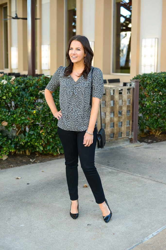 spring outfit | gray leopard print top with black skinny jeans | Affordable Fashion Blog Lady in Violet