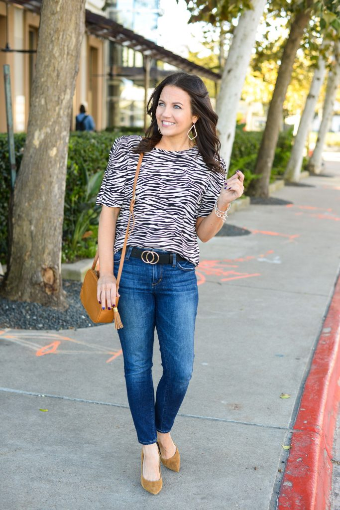 spring outfit | zebra print top | dark blue skinny jeans | Affordable Fashion Blog Lady in Violet