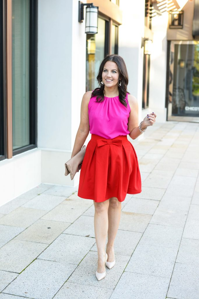 valentine's day outfit | pink blouse with red mini skirt | Affordable Fashion Blog Lady in Violet
