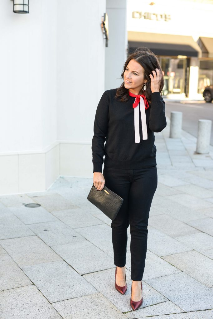winter outfit | black bow sweater | red metallic heels | Affordable Fashion Blog Lady in Violet