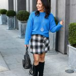 How to Wear a Sweater and Mini Skirt