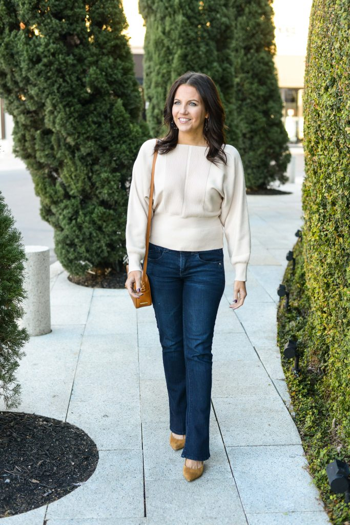 winter outfit | ivory sweater | flared dark blue jeans | Affordable Fashion Blog Lady in Violet