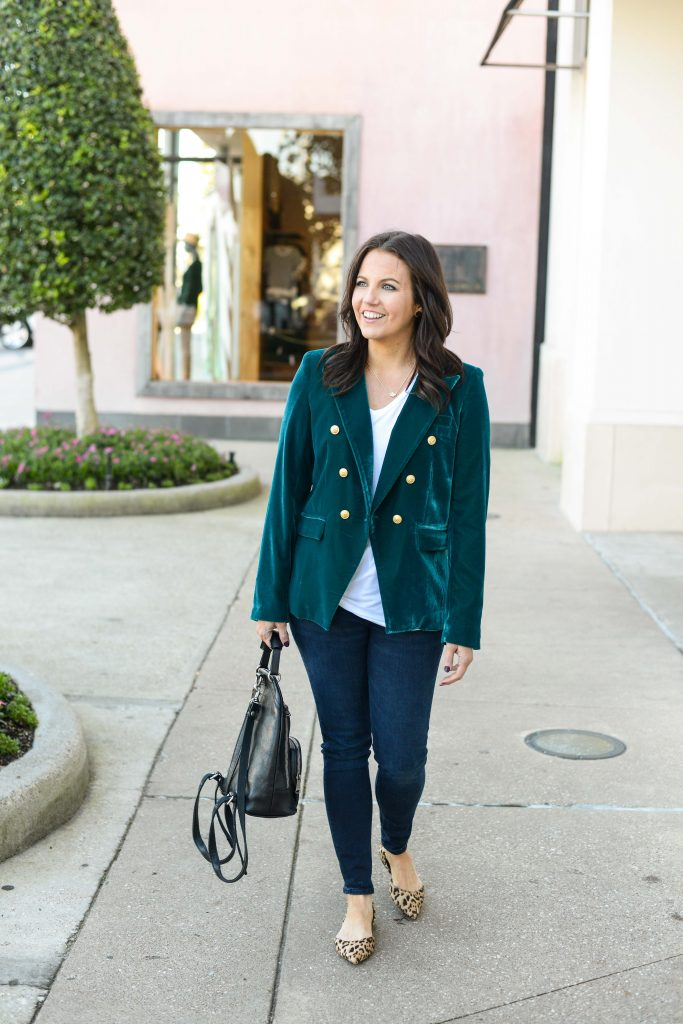 winter outfit | teal green velvet blazer | dark blue skinny jeans | Affordable Fashion Blog Lady in Violet
