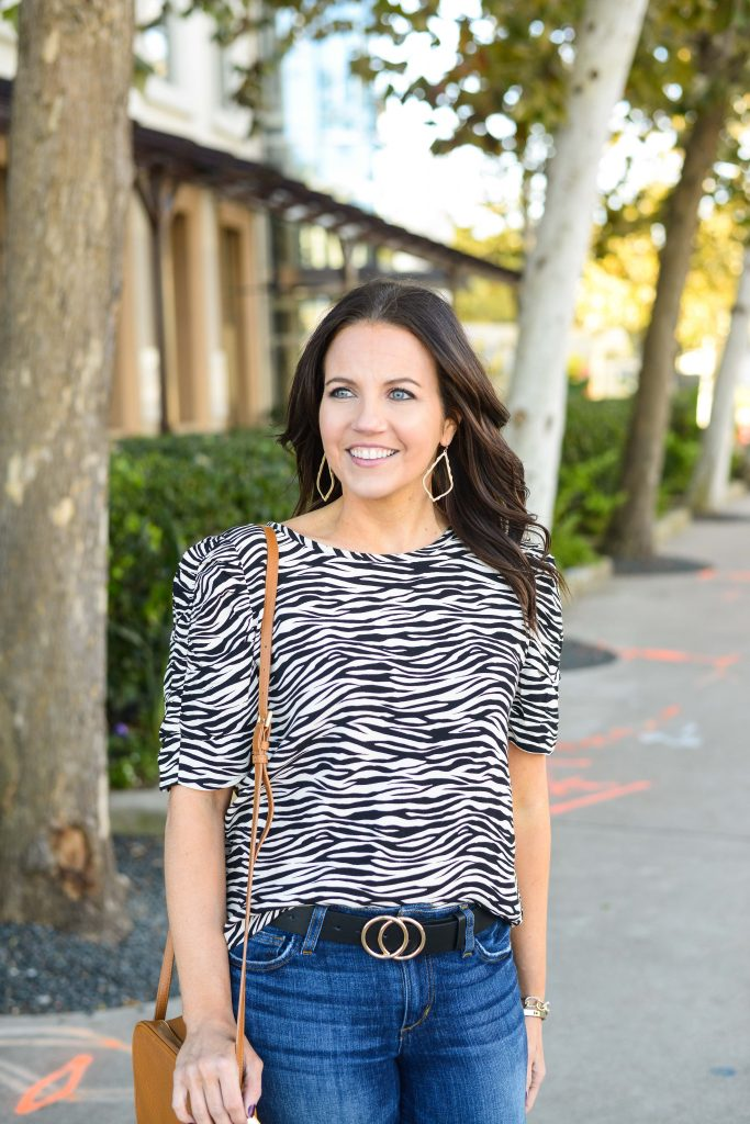 casual outfit | zebra print top | double o buckle belt | Trendy Fashion Blog Lady in Violet