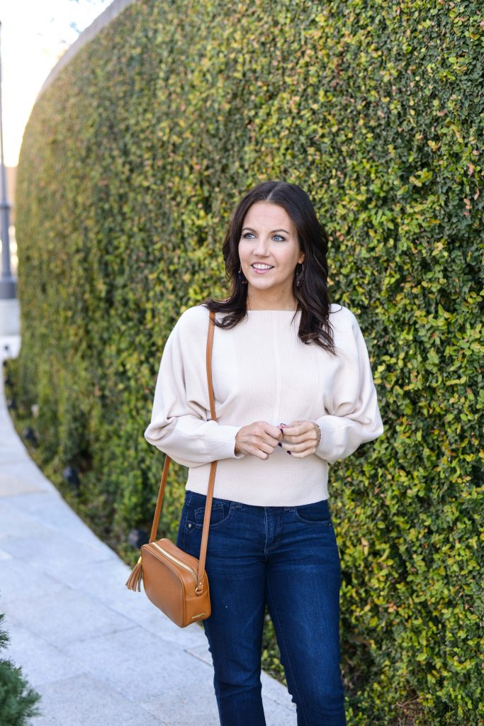 casual winter outfit | ivory boatneck sweater | tan crossbody purse | Petite Fashion Blogger Lady in Violet