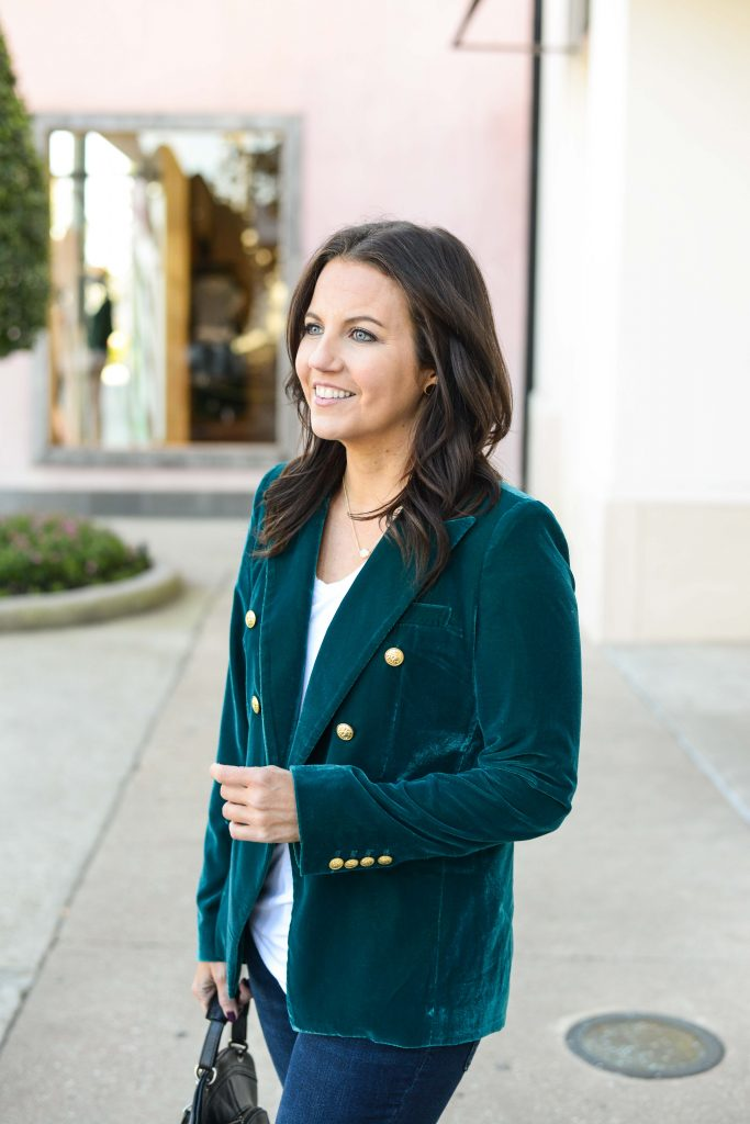 fall outfit | green velvet blazer with white tshirt | Houston Fashion Blogger Lady in Violet