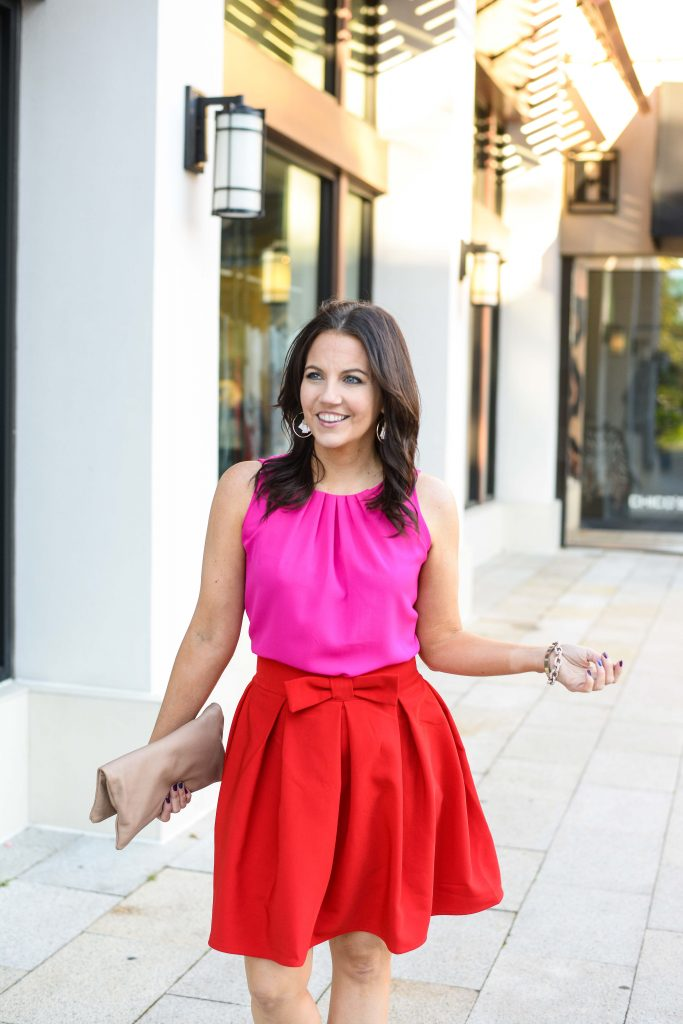 valentines date night outfit | pink sleeveless top | red flared skirt | Houston Fashion Blogger Lady in Violet
