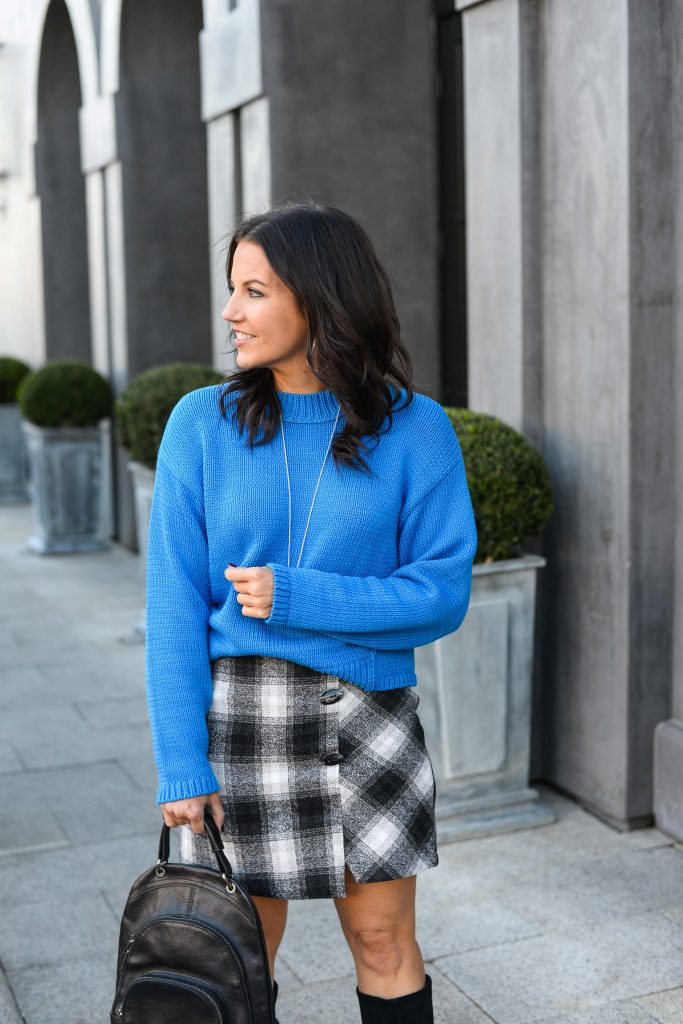 winter outfit | neon blue sweater | black plaid mini skirt | Houston Fashion Blogger Lady in Violet