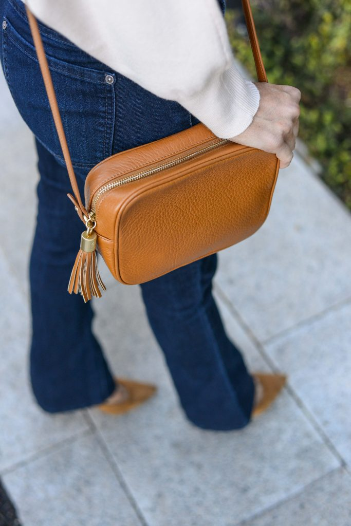 casual outfit | tan brown crossbody bag | dark blue denim | Houston Fashion Blog Lady in Violet
