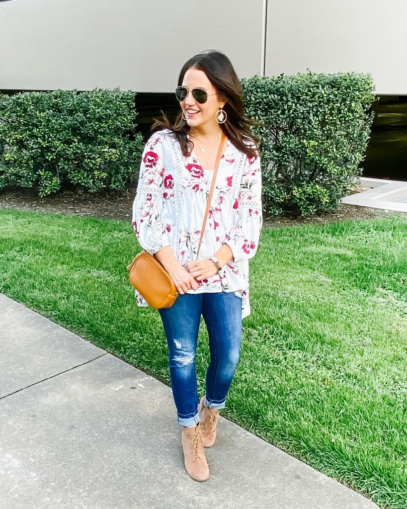 casual spring outfit | white floral tunic with distressed jeans | Everyday Fashion Blog Lady in Violet